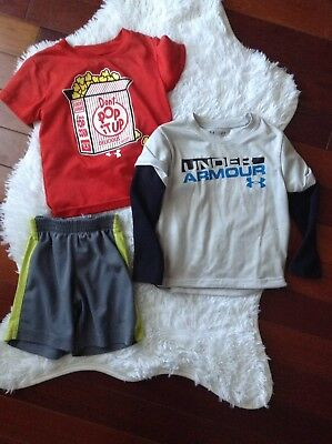 Summer Lot of 3 Nike Under Armour Boy's Active Shorts Tops Size 2T