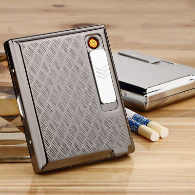 AU! 1Pcs Metal Cigarette Case With USB Lighter Electronic Rechargeable Windproof