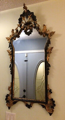 Pair of Italian Rococo Antique Gilt Carved and Filigree Wall Mirror