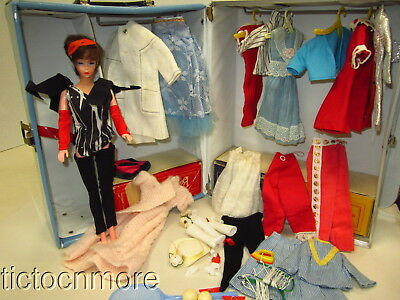 Vintage Hong Kong Clone Mitzi Bild Lili Doll + Clothes Lot & Barbie Case