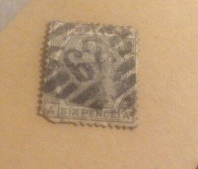 Six Pence Stamp United Kingdom A In All Corners