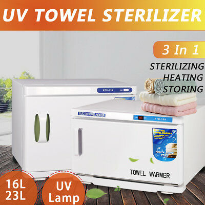 UV Towel Warmer Sterilizer Cabinet Disinfection Facial Salon Hotel Spa 16/23L