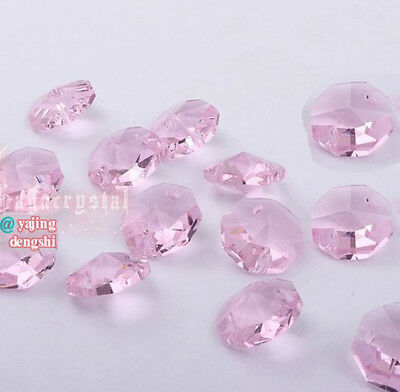 100pcs 14mm Pink Crystal Octagonal beads Decoration Crystal chandelier parts #1