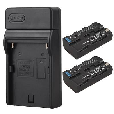 2x 2600mAh Replacement Li-ion Battery + Charger for Sony NP-F550 NP-F570 Camera