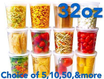 32oz Heavy Duty Large Round Deli Food/Soup Plastic Containers w/ Lids BPA free