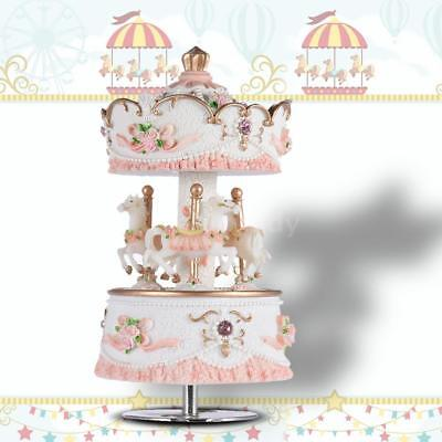 New Laxury Windup Carousel Music Box Artware/Gift Castle in the Sky Pink D8W0