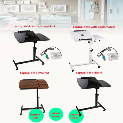 Rotating Mobile Laptop Desk Adjustable Tray PC Computer iPad Stand Bedsid Table