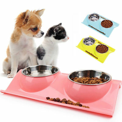 Cat Dog Feed Stainless Double Food/Water Bowl Non Tray Wipe Clean Slip Dish