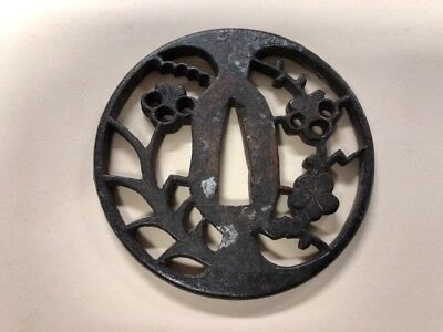 Antique Japanese Cast Iron Tsuba - Handguard Sword Plate 1