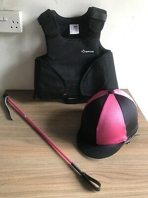 Girls Horseriding Hat, Body Protector And Crop