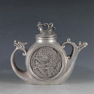 Chinese  Silvering Copper Dragon&Phoenix Teapot Made By The Royal DaQing