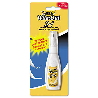 BIC Wite-Out 2-in-1 Correction Fluid, 15 ml Bottle, White