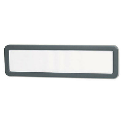 Universal Recycled Cubicle Nameplate with Rounded Corners, 9 x 2 1/2, Charcoal