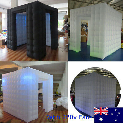AU Portable Inflatable Cube Photo Booth Two Door Tent Photobooth With LED Lights