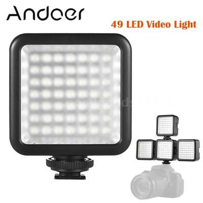 Andoer W49 Mini Interlock Camera LED Panel Light Lamp Dimmable Camcorder Video