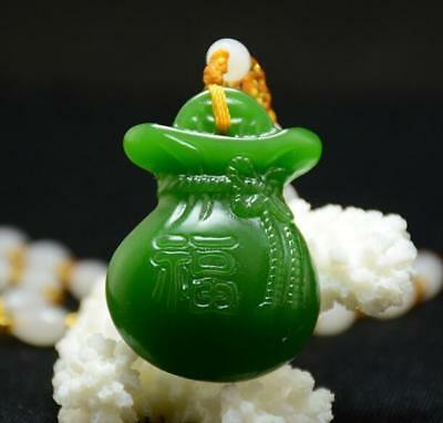 100% Natural Green jade pendant Necklace Amulet Lucky Purse 钱袋 stone statue