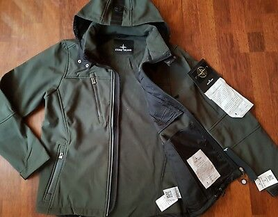 Stone Island Mens Jacket Hooded Soft Shell Olive Green Color 2XL Logos on New