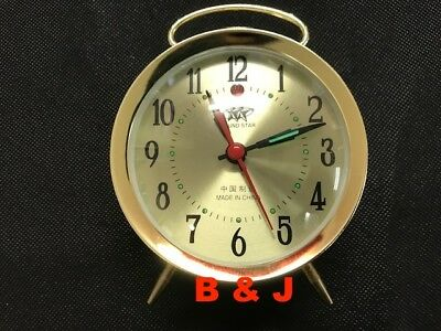 Table Alarm Clock Brass Plated Wind Up Mechanical 90mm Dial Bedside Standing