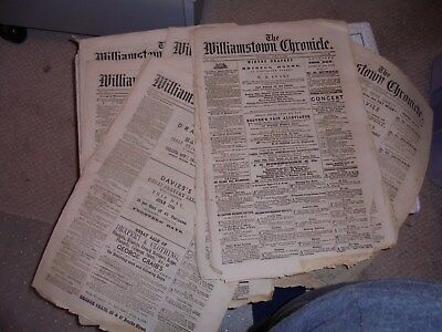 7 Issues Of The Williamstown Chronical Newspapers..1869