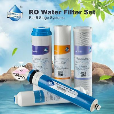 Reverse Osmosis Water Filter RO Cartridge PP+CTO+GAC+Film+T33 For 5-Stage System