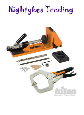 Triton Clamping Pocket-Hole Bench Jig Kit Clamp Screws Plugs & Drive Bit TW8CPHJ