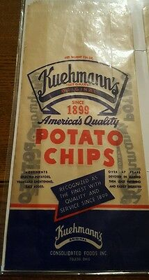 Unused Antique Kuehmann's Waxed Paper Potato Chip Bag From Toledo Oh