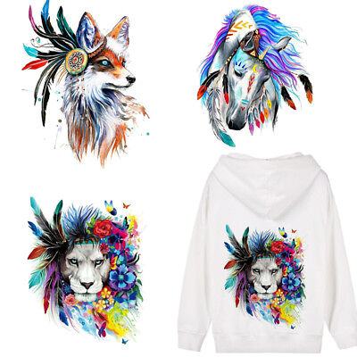 Iron-on Heat Transfer Clothes Patches 3D Fox Horse Lion Stickers For Tops Tshirt