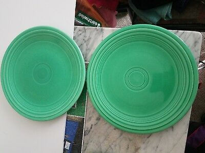 Two Vintage Light Green Fiesta Ware Luncheon Plates ceramic dishes dinner lunch