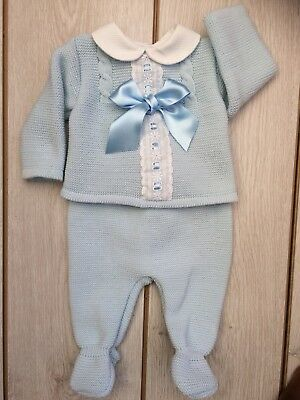 Baby Boys Girls Romany Spanish 2 Piece Knitted blue  summer Set/Outfit 6-9 Mths