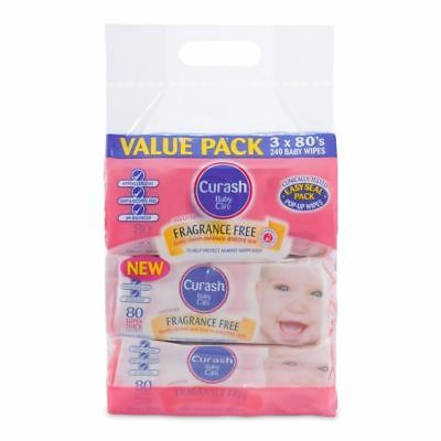 Curash Baby Wipes Fragrance Free - 3 x 80 Bulk Pack