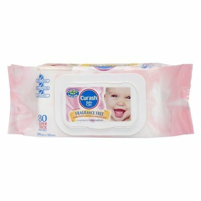 Curash Baby Wipes Fragrance Free Unscented - 80 Wipes
