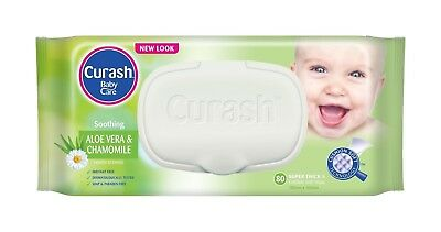 Curash Baby Wipes Soothing Aloe Vera & Chamomile - 8 x 80 Wipes