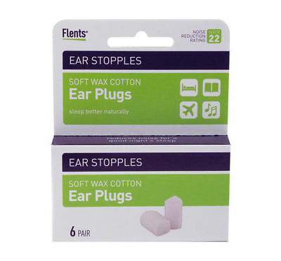 Flents Ear Stopples Soft Wax-Cotton Ear Plugs 6 pair