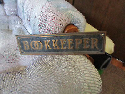 Rare19th century Antique Copper Brass Bookkeeper Door Sign Architectural Awesome
