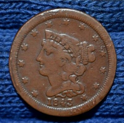 1843 HALF CENT !!! ** Must See!
