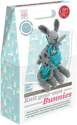 The Crafty Kit Co. Knitting Kit - Knit your own Bunnies - Knitting for Beginners