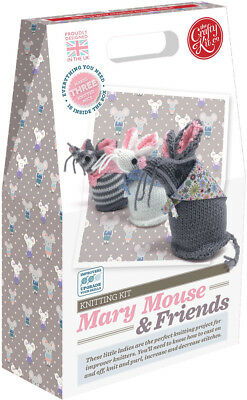 The Crafty Kit Co. Knitting Kit - Mary Mouse and Friends - Kntting for Beginners