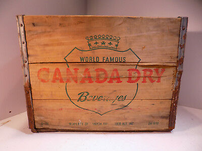 """Vintage Wood Soda Crate CANADA DRY BEVERAGES 16 1/4"""""""" X 11 1/2"""" X 12"""