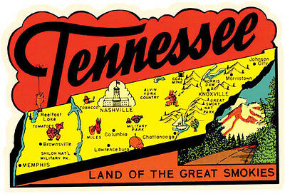 Tennessee Map  1950's  Vintage Looking Travel Sticker decal Label  Nashville TN