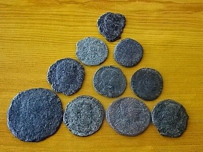 Lot of 10 Ancient Roman Bronze Coins 4th Century AD Very Rare / Low quality