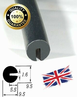 Round BLACK Rubber U Channel Edging Trim Seal 10mm x 10mm from TSEC