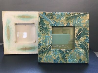 2 Hand painted, up-cycled on trend picture frames for 7x7cm images.