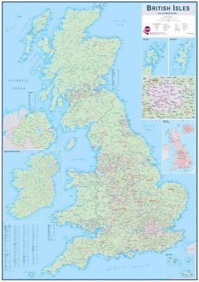 British Isles Sales and Marketing Map 1175X875MM Laminated Front