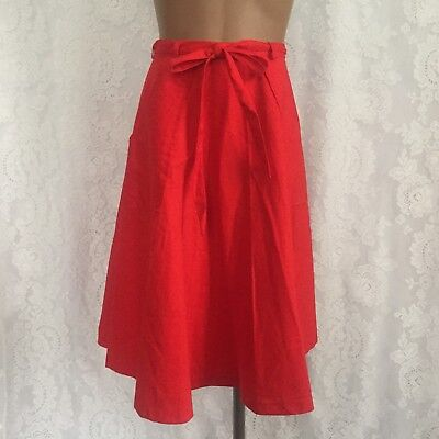VTG 70's Sundial Fashions Red Cotton Wrap Skirt Size M