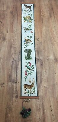 "Vtg Needlepoint Bell Pull Wall Hanging 60"" Long Horse Duck Deer Elephant Animals"