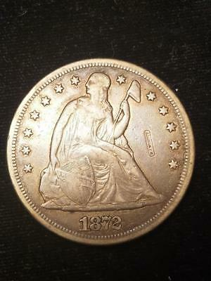 1872 Liberty Seated Silver Dollar Counterstamp N J Wolcott  Not Listed in Rulau