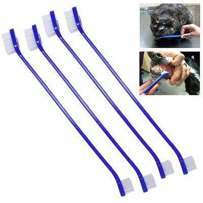 4 Pet Tooth Brush Dual End Dog Cat Teeth Mouth Clean Extra Soft Bristles Animal