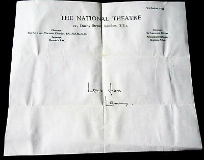 """LAURENCE OLIVIER RARE HAND SIGNED NATIONAL THEATRE LETTERHEAD """"Love from Larry"""""""