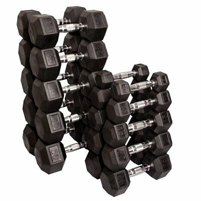 Rubber Hex Dumbbells Package Pairs 10 20 30 Kg Pairs = 120 Kg