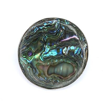 Sterling Silver Abalone Shell Brooch Pin Round Mexico MR 925 Vtg